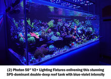 """Photon 50 V2+"" Extruded Aluminum, 24 Month U.S. Warrantied, Max PAR Coverage, High-UV Saltwater LED Lighting Fixture (comes with Mounting Legs, Full Hanging Kit, and Programming Controller┃470 Average PAR at 100%)"