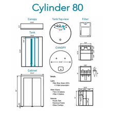 """ProCylinder"" 80 Gallon Acrylic Cylinder 2' Diameter Full Aquarium System (Tank, Stand, Filter, Plumbing, Pump, + Controllable Lighting┃Tank Capacity = ~53G┃Full System Capacity = ~65G)"