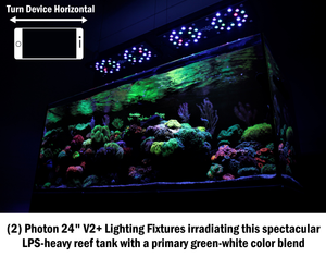 """Photon 32 V2+"" Extruded Aluminum, 24 Month U.S. Warrantied, Max PAR Coverage, Saltwater LED Lighting Fixture (comes with Mounting Legs, Full Hanging Kit, and Programming Controller┃525 Average PAR at 100%)"