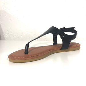Tami Black Thong Strappy Sandals Flats - The Shoe Trunk