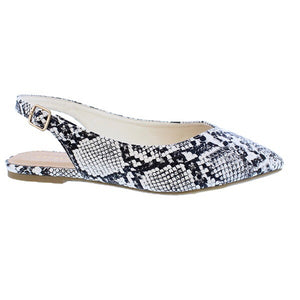 Emerson Snake Black White Slingback Flats - The Shoe Trunk