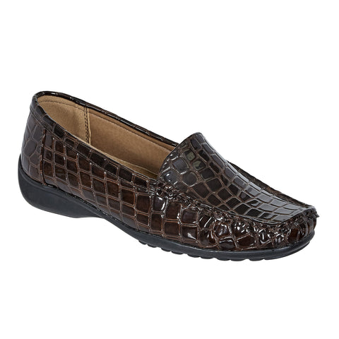 Hazel Brown Croco Loafer Flats