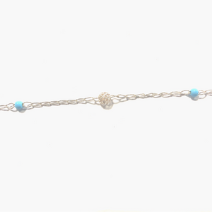 Sterling Silver Anklet Synthetic Turquoise Silver Spheres Anklet