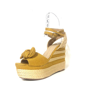 Yellow Wedge Sandals Yellow High Heels - The Shoe Trunk