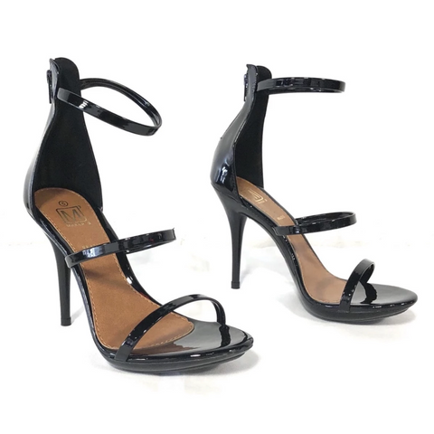 Carioca 4 Black Patent Strappy Heels - The Shoe Trunk