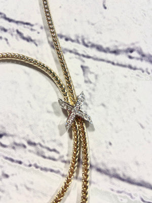 "Necklace Rhodium CZ ""X"" Necklace"