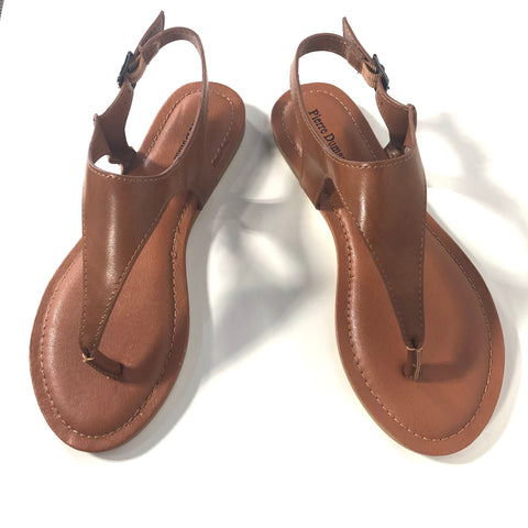 Tami Whiskey Brown Thong Strappy Sandals Flats - The Shoe Trunk