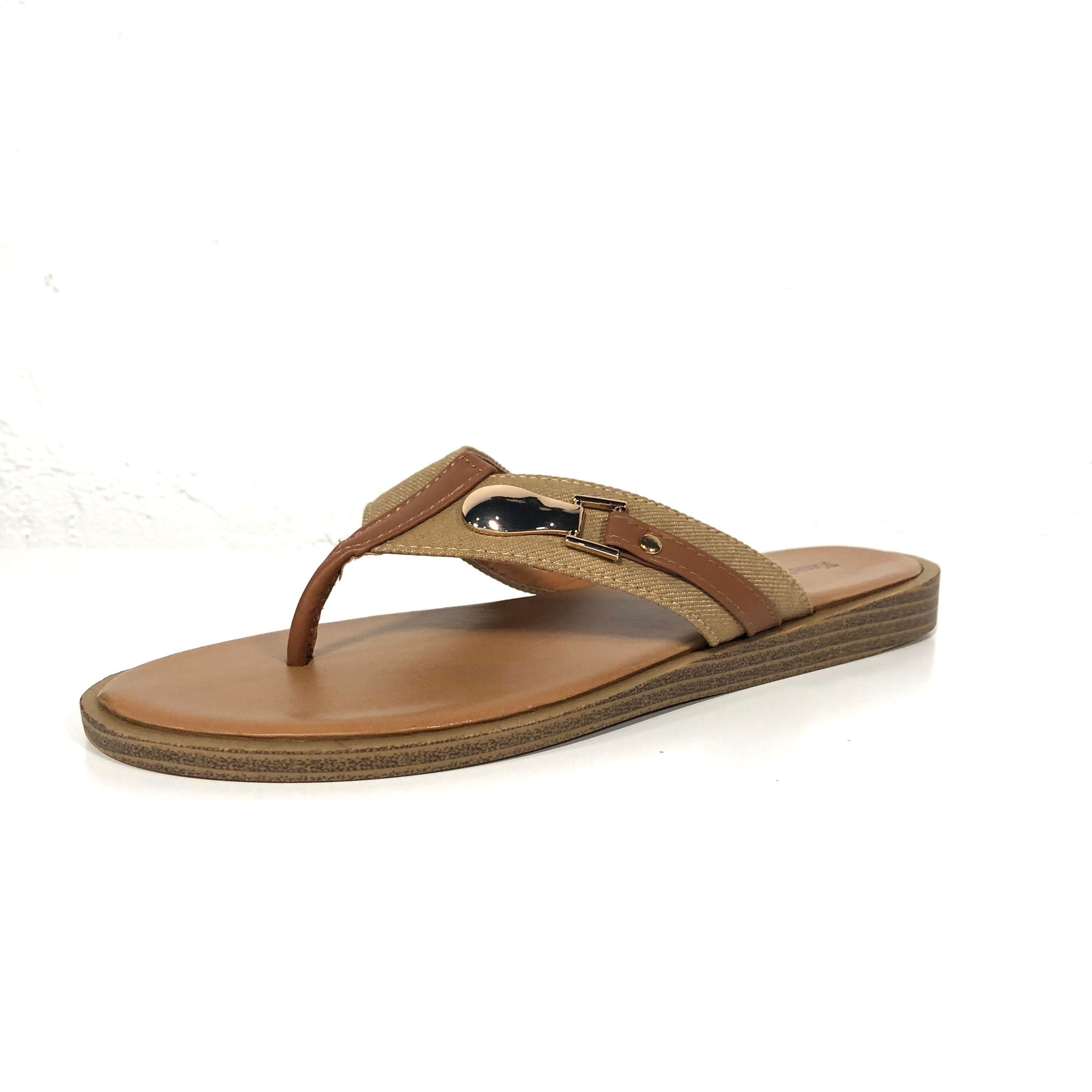 Lizzie Nude Brown Flip Flop Sandals - The Shoe Trunk