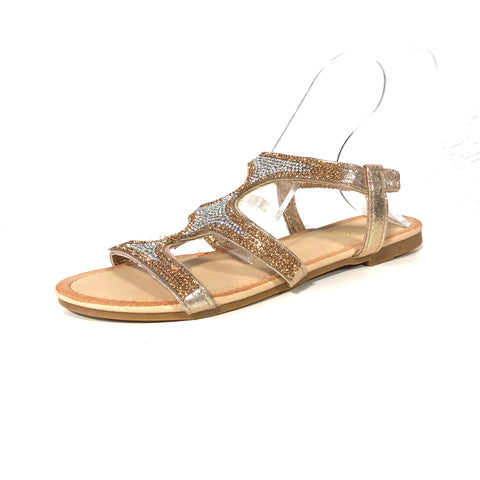 Champagne Rose Gold Strappy Sandals - The Shoe Trunk
