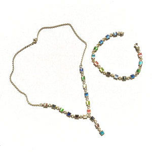 Sterling Silver Necklace and Earrings Set Multicolor Stones