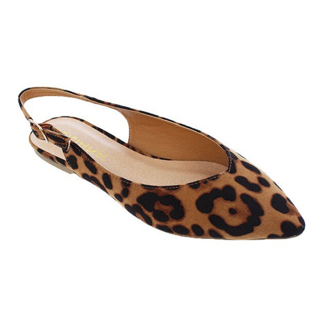 Emerson Leopard Brown Black Slingback Flats - The Shoe Trunk