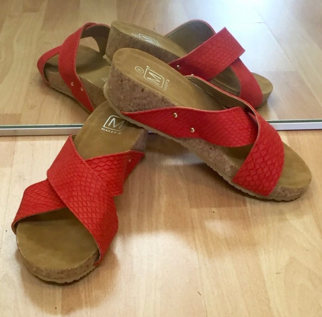 Meli Red Wedges Sandals - The Shoe Trunk