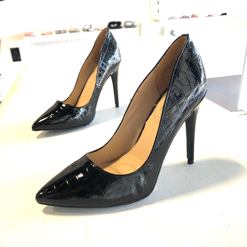 Angie Black Croco Heels - The Shoe Trunk