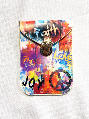 Retro Crossbody Purse Beige Crossbody - Graffiti 'Faith' Purse