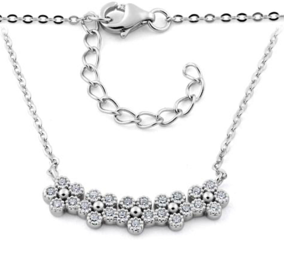 Sterling Silver Flower CZ Necklace