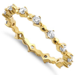 Sterling Silver CZ Ring Gold Plated