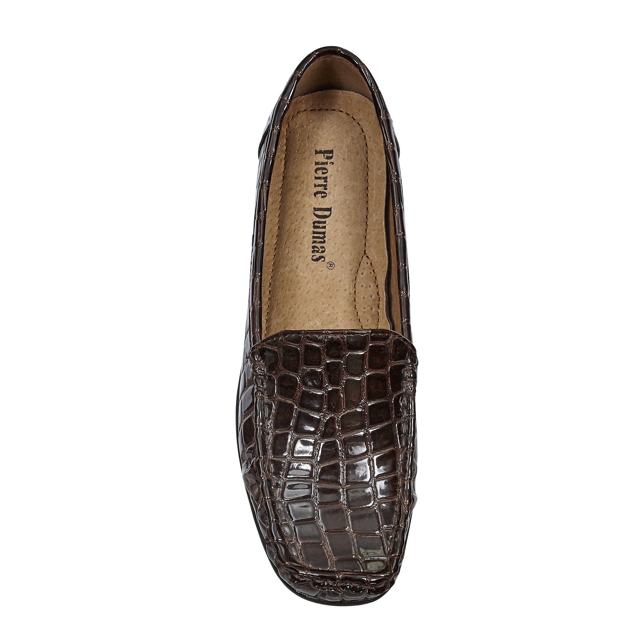 Hazel Brown Croco Loafer Flats - The Shoe Trunk