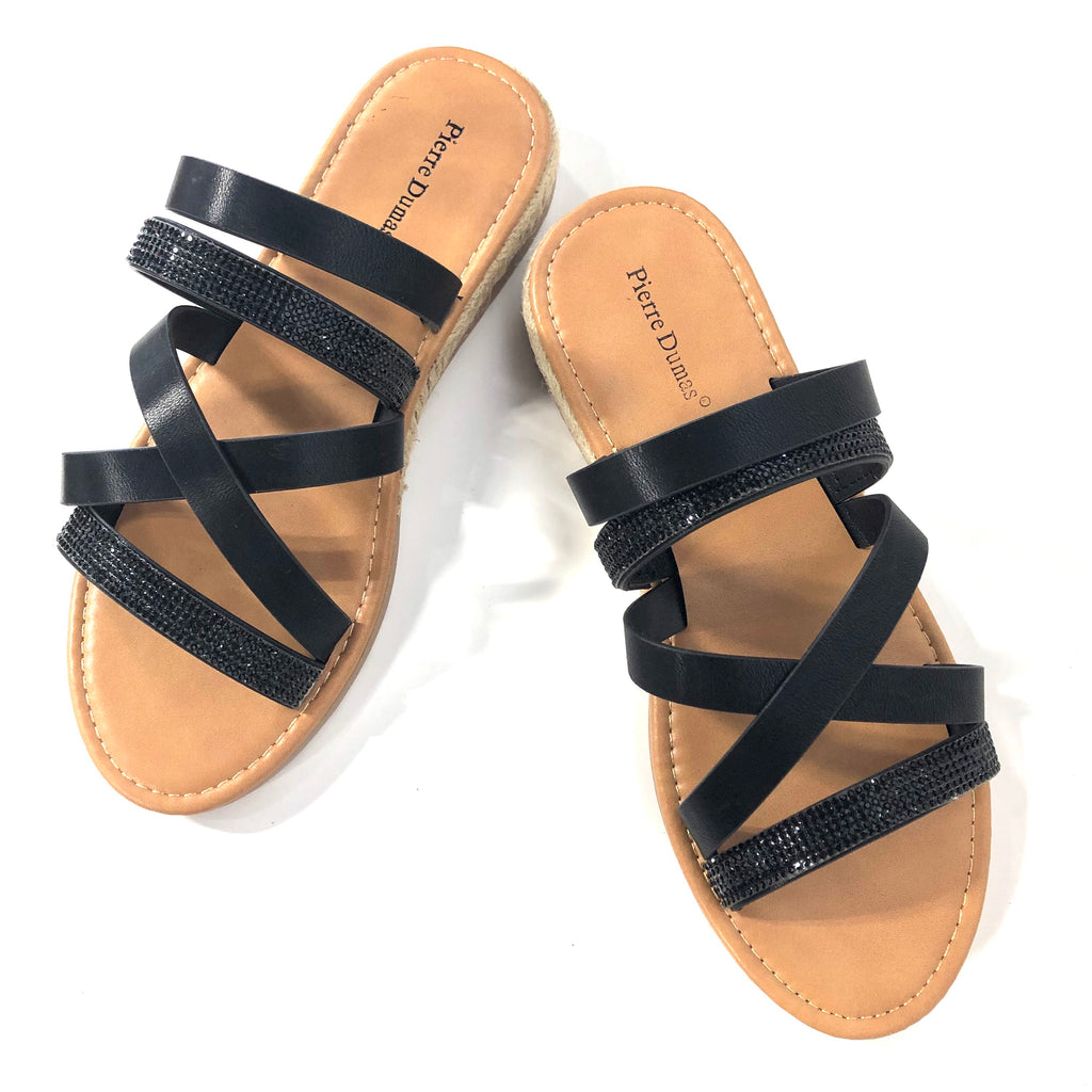 Jojo Black Strappy Sandals - The Shoe Trunk