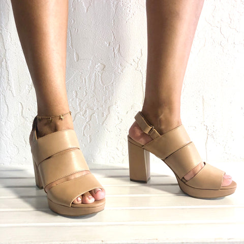 Freema GingerSnap Nude Beige Tan Strappy Heels - The Shoe Trunk