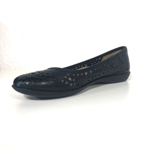 Felicite Black Leather Flats
