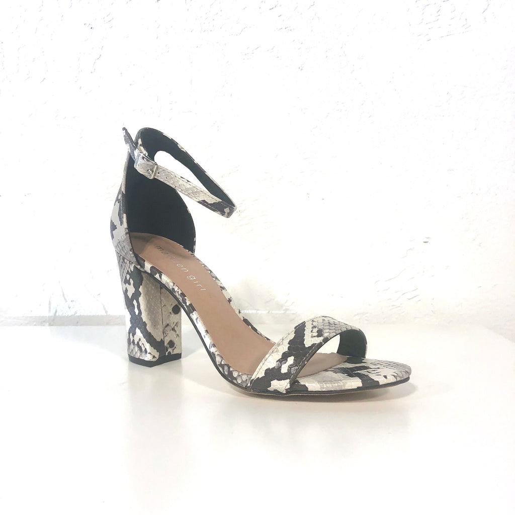 Beella Snake Black White Animal Print Block Heels - The Shoe Trunk