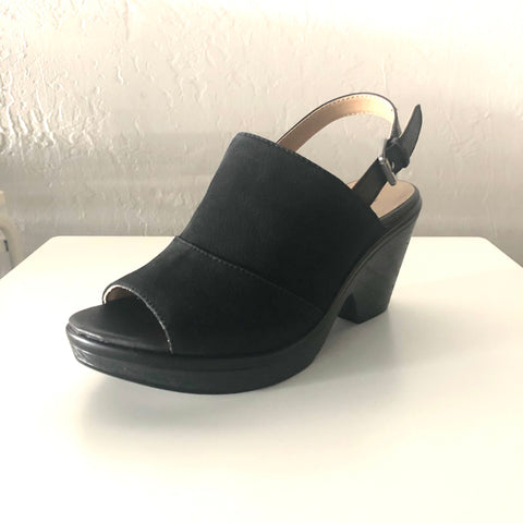 Faye Black Leather Wedges Heels