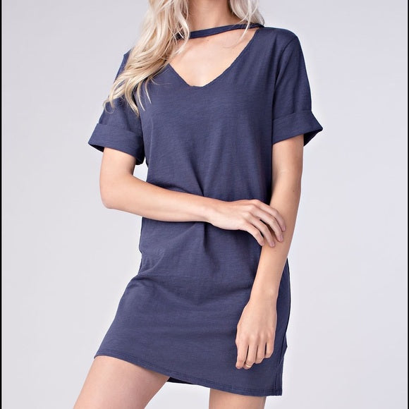 Honey Punch Blue Cotton Dress - The Shoe Trunk