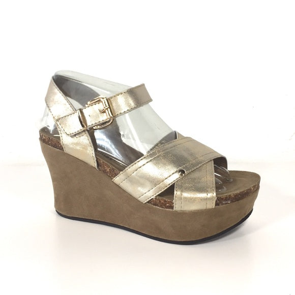 Hester Gold Wedges - The Shoe Trunk