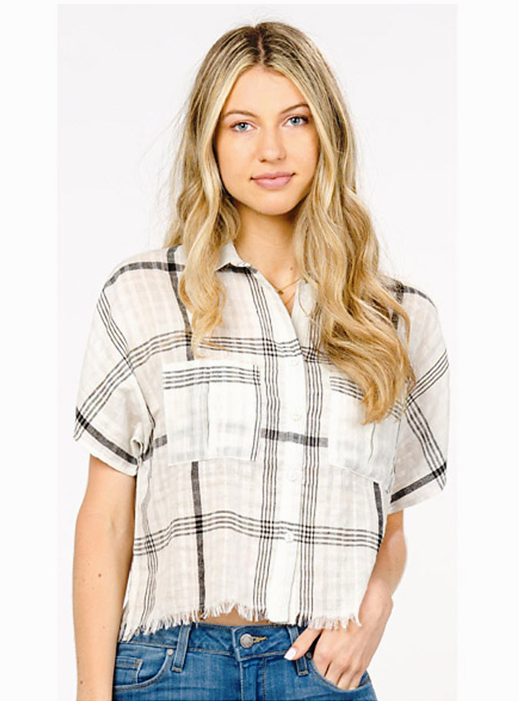 Plaid Cropped Cotton Shirt