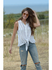Casual Front Tie Sleeveless Top