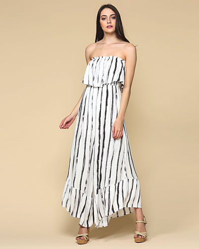 Tube Ruffled Striped Jumpsuit