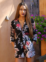 Load image into Gallery viewer, Flower Print Front Tie Romper