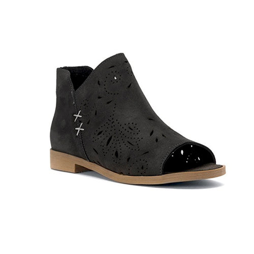Coolway Nelia Suede Peep-Toe Booties - Black