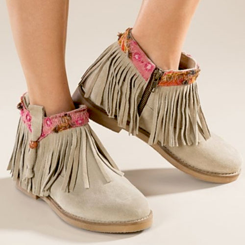 Coolway Naim Beige Suede Fringe Ankle Boots