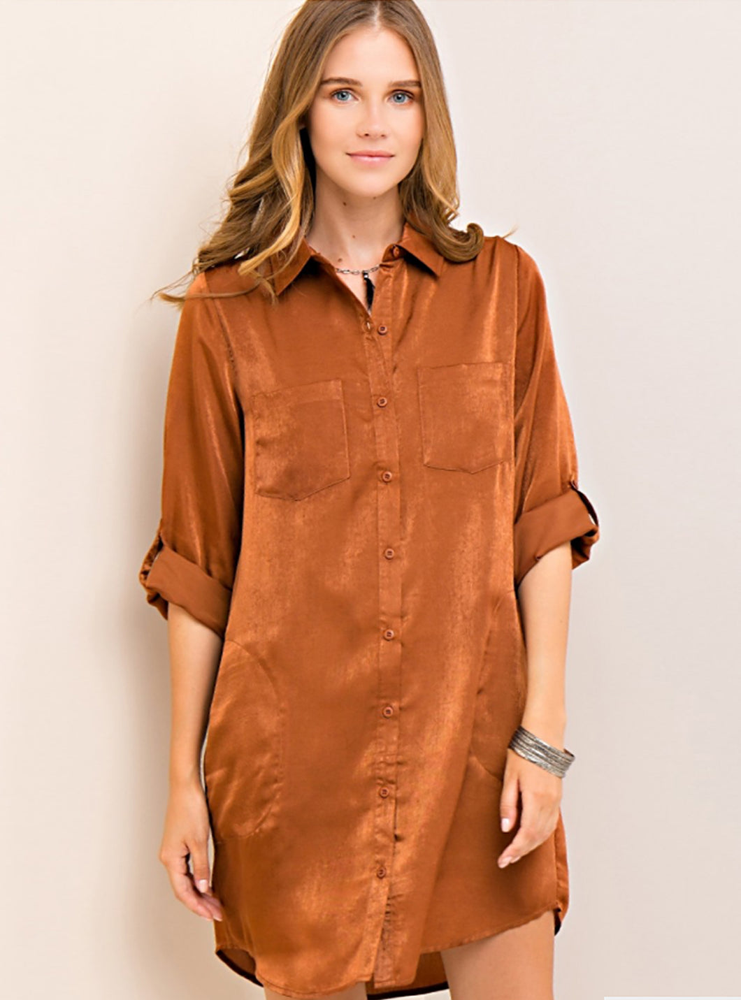 Satin Shirt Dress (2 colors available)
