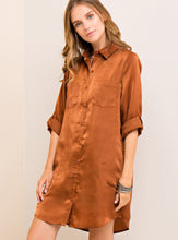Load image into Gallery viewer, Satin Shirt Dress (2 colors available)