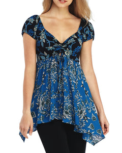 Free People La Bamba Babydoll Top (Black combo)