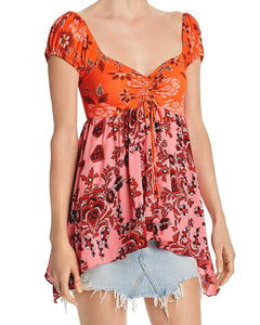 Free People La Bamba Babydoll Top (Hawaiian sunset combo)