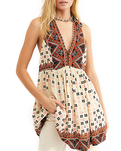 Free People Charlotte Sleeveless Printed Top Tunic