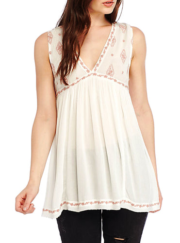 Free People Diamond Embroidered Blouse