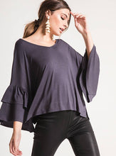 Load image into Gallery viewer, Issa Oversized Ruffle Sleeve Top (Graphite)