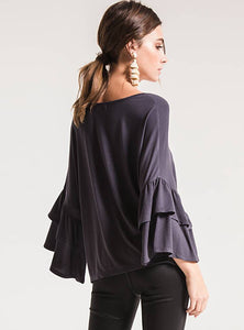 Issa Oversized Ruffle Sleeve Top (Graphite)