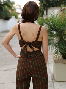 Leona Olive Striped Jumpsuit