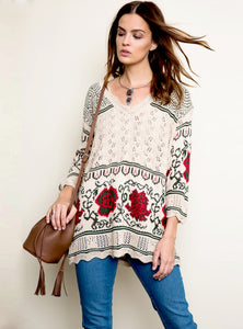 Floral Print Knit Sweater