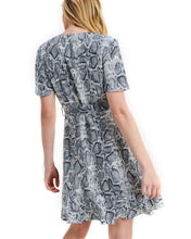 Load image into Gallery viewer, Snakeskin Wrap Mini Dress - Grey