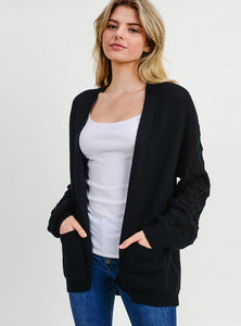 Statement Sleeves Open Front Cardigan - Black