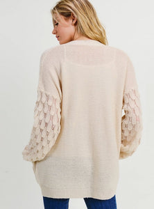 Statement Sleeves Open Front Cardigan - Beige