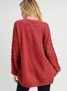 Statement Sleeves Open Front Cardigan - Berry