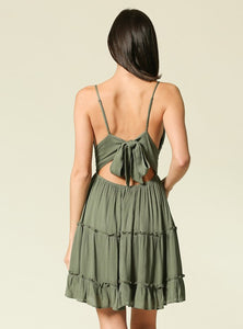 Emelie Sundress With Lace Top - Olive