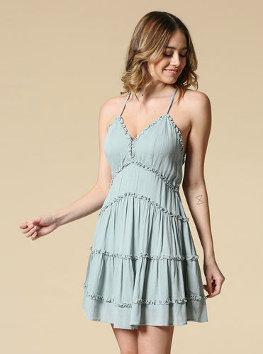 Melinda Ruffle Mini Dress With Open Back - Mint
